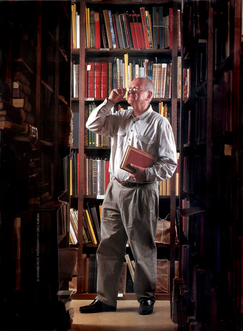A recent photograph of Leo Berkelouw surrounded by books at the Berkelouw Book Barn